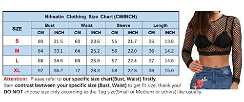 9a65841f718 Nihsatin Women's Elastic Fishnet Long Sleeve Mesh Crop Top Clubwear See  Through Black