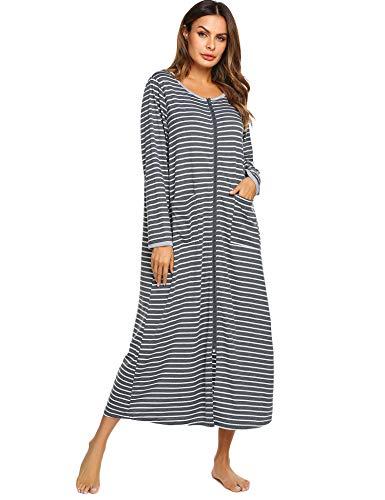 Ekouaer Women Long Robes Zipper Front Full Length House Coat with Pockets Striped Loungewear