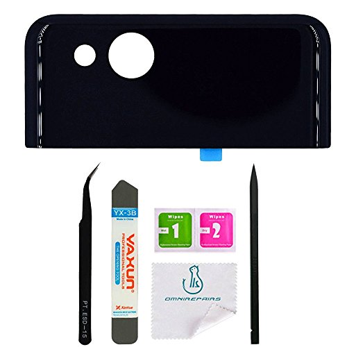 OmniRepairs Rear Facing Glass Camera Lens with Frame Cover Replacement and Pre-Installed Adhesive for Google Pixel 2 with Repair Toolkit (Pixel 2 Black)