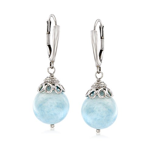 Ross-Simons 2.00 ct. t.w. Milky Aquamarine Drop Earrings in Sterling Silver