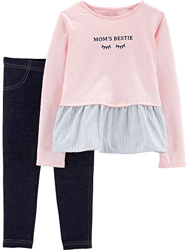 Carter's Girls' 2-Piece Long Sleeve Top and Legging Sets (24 Months, Moms Bestie/Pink)