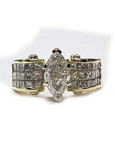 Diamond Engagement ring Marquise Center, Princess cut sides, 2.78cts. in 18kt. Gold