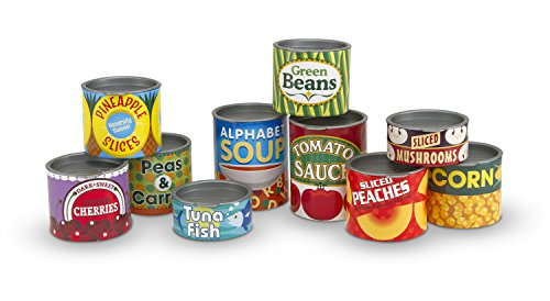 Melissa & Doug Let's Play House! Grocery Cans Play Food Kitchen Accessory - 10 Stackable Cans With Removable (Make Fake Food)