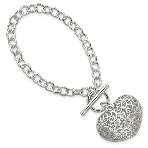Diamond Toggle Bracelet - ICE CARATS 925 Sterling Silver Heart Toggle Bracelet Charm W/charm /love Fine Jewelry Ideal Gifts For Women Gift Set From Heart