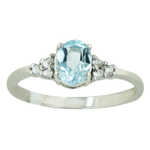 .925 Sterling Silver 7x5mm Oval Faceted Sky Blue Topaz Gem Ring Size 7