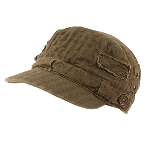 David & Young Unisex Cotton Distressed Patch Summer Waffle Cadet Castro Military Cap Hat Olive