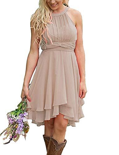 Erosebridal Short Bridesmaid Dresses Chiffon Halter Prom Dress Country Wedding Dress Champagne 18 Plus (Mother Of The Groom Dresses For Western Wedding)