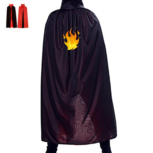 [Fire Mage Halloween Costume Witch Cape Wizard Cloak Vampire's Cowl] (Homemade Adult Halloween Witch Costumes)