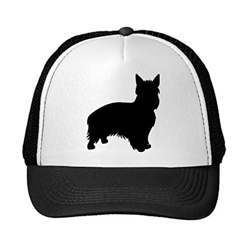 Trucker Hat Australian Silky Terrier Silhouette Polyester Baseball Mesh Cap Snaps Black/Black One Size