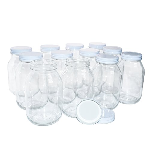 (12 Pack Clear Glass Old-Fashioned Jars With Metal Lid (with seal) 32oz)