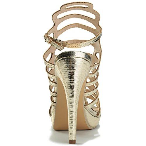 Alexis Leroy Elegante - Sandalias de tacón aguja purpurina mujer Oro