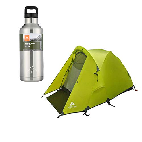 (OZARK TRAIL Mountain Pass Geo Frame Tent, Sleeps 2 Bundle 64 oz. Double Wall Stainless Steel Silver Water Bottle)