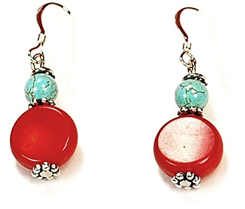 (ER23a Blue Magnesite Turquoise& Red Coral Beads Earring with Sterling Silver earring base)