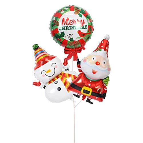 3pcs Christmas Foil Balloons Aluminum Mylar Balloon Christmas Party Supplies Decorative Props