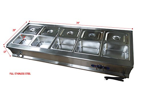 10-Pan Pot Kettle Bain-Marie Buffet Food Warmer Steam Table 71×26×11inch 1800W ()