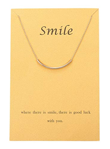 Gudukt Curved Tube Necklace Gold Plated Simple Smile Necklace Women Girls