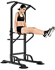 Soges Power Tower Adjustable Height Pull Up and Dip Station Multi-Function Home Strength Training Fitness Workout Station