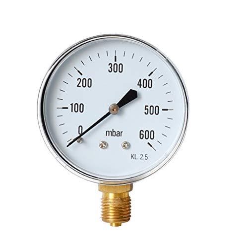m·kvfa Pressure Gauges Barometer Oil Pressure Gauge Water Pressure Gauge for Mining Home Heating Household Pressure Measurement (I(0-600mbar))