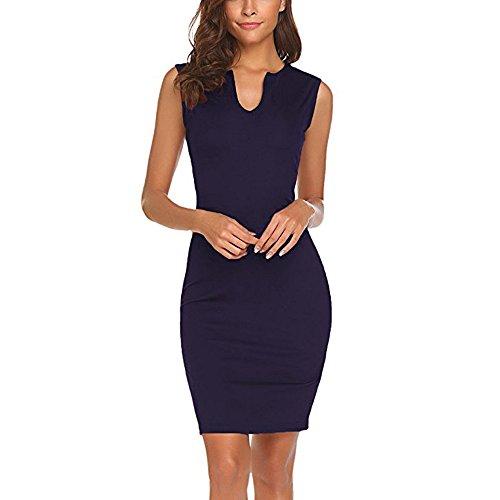 Price comparison product image ANJUNIE Women's Wear to Work Office Pencil Dress Sleeveless V Neck Mini Bodycon Dress (Navy, L)