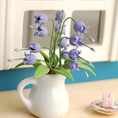 NATFUR Vivid Clay Plant Flores Convallariae Ceramic Vase Dollhouse Miniature ()