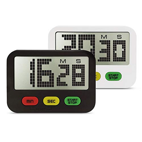 U-Trak 2 Pack Digital Kitchen Timer Simple Cooking Timer Count Up/Countdown Functions, Large LCD Display, Strong Magnet Back&Hidden Stand For Cooking Baking Workout Pilates Yoga Black and White