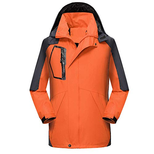 (WELCOMEUNI Fashion Men's Autumn Winter Outdoor with Cap Zipper Removable Sport Assault Coat Orange)
