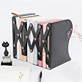 Ansley&HosHo Metal Adjustable Bookends for Shelves for Heavy Duty Book 3 Grids Flexible Book Racks for Standing Book Storage Holder on Table Desk Top (Black)
