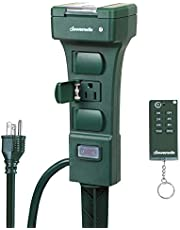 Dewentils Remote Control Outdoor Power Strip Stake Timer