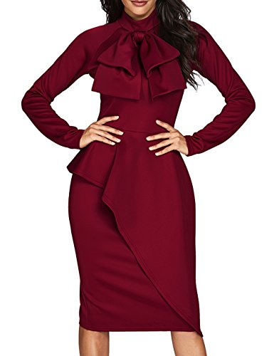 CICIDES Womens Tie Neck Peplum Waist Long Sleeve Bodycon Business Dress Red Large (Peplum Dress Waist)