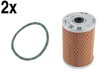 (Porsche 356 (56-65) Oil Filter KITs (x2) Cartridge + Gasket MAHLE lubricant strainer)