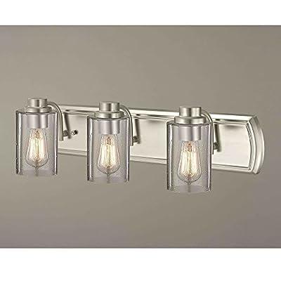 Industrial Seeded Glass Bathroom Light Satin Nickel 3 Lt