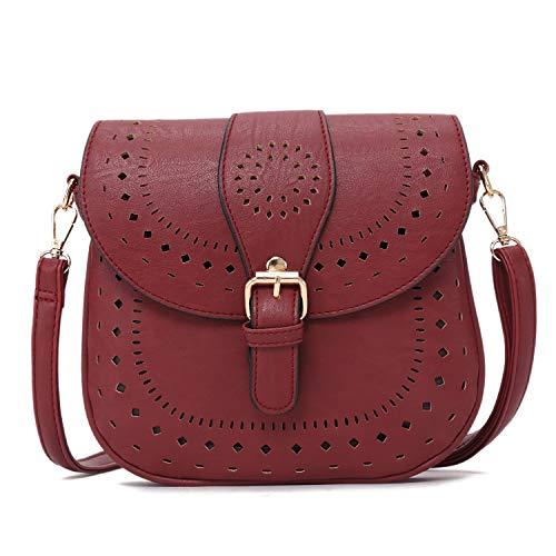 (Forestfish Ladie's PU Leather Vintage Hollow Bag Crossbody Bag Shoulder Bag (Dark Red))