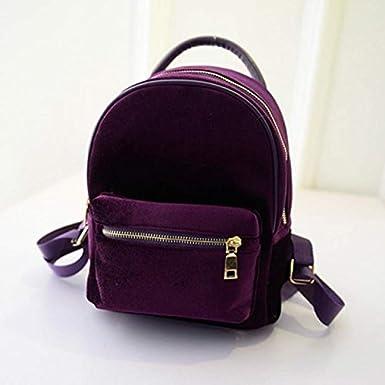 Lurryly Womens Gold Velvet Backpacks Rucksack School Bags Travel Backpack Shoulder