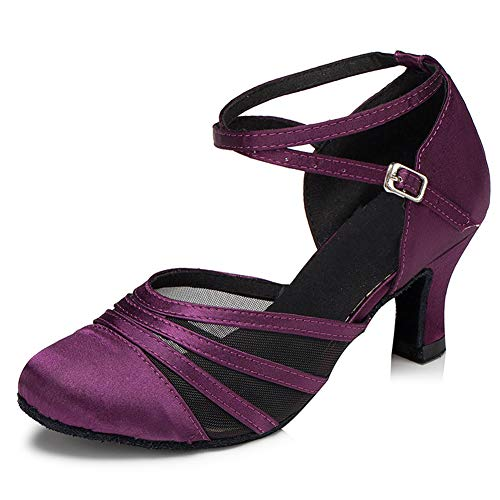HIPPOSEUS Womens Latin Dance Shoes Heeled Ballroom Salsa Tango Party Satin Dance Shoes Closed Toess Heel 5CM,Model CY189,Purple, 9.5 B(M) US
