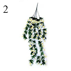 FYYDNZA 1Pcs Flower Rattan Lily Hanging Wall Hanging Orchid Basket Living Room Home Decoration Flower Artificial Flower Silk,2 85