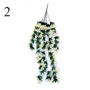 FYYDNZA 1Pcs Flower Rattan Lily Hanging Wall Hanging Orchid Basket Living Room Home Decoration Flower Artificial Flower Silk,2 39