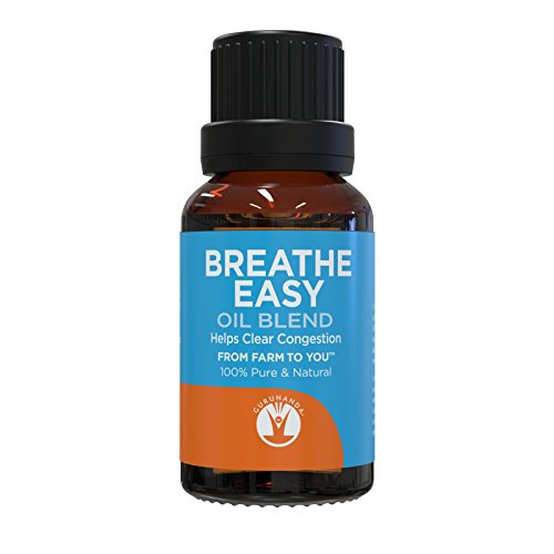 GuruNanda Breathe Easy Essential Oil Blend - for Congestion - Eucalyptus - Peppermint - Basil - Rosemary - Tea Tree - Natural Essential Oils for Aromatherapy Diffusers - Pure Therapeutic Grade 15ml