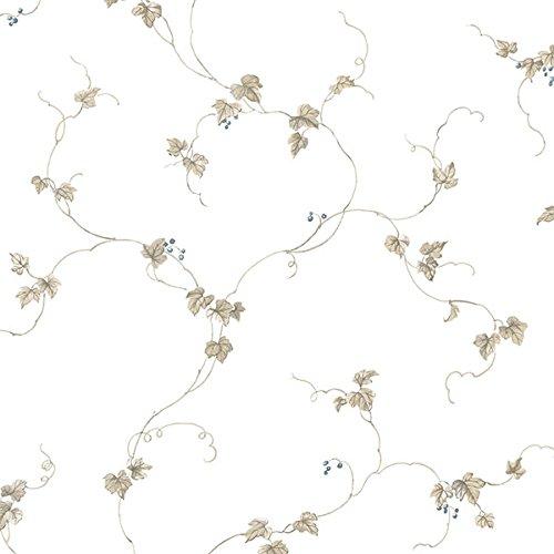 (Manhattan comfort NWFK34436 Doral Series Vinyl Floral Trail Design Large Wallpaper Roll, 20.5