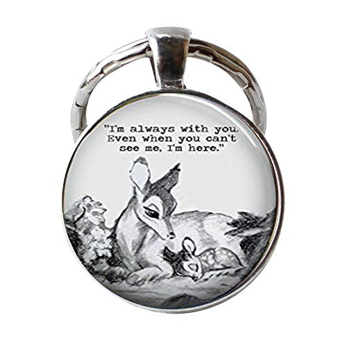 Bambi & Mother 'Always with You' Glass Dome Keychain -