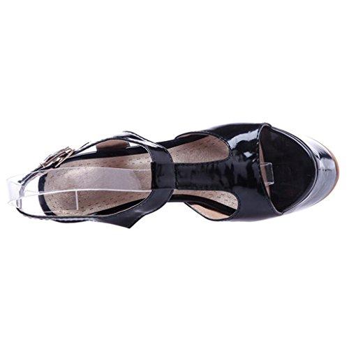 Talon Noir Hauts Talons Bout Band Épais Sandales Chaussures Semelle PU Femmes Ouvert InstepT Été Femme pour Épaisse qR1xXaA