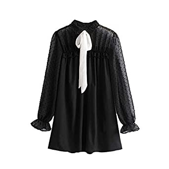Stevenurr Fashion Women Sweet Bow Tie Ruffled Mesh Dress See Through Vintage Long Sleeve Chic Lady