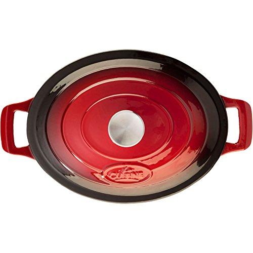 La Cuisine PRO 6.75 Qt Enameled Cast Iron Covered Oval Dutch Oven, Red