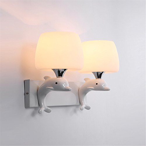 (LED Wall Lights Wall Sconce Light Fixture Up Down Decorative Wall Lighting Resin Dolphin Children Living Room Bedroom Wall Above The White Wall Lights and Wall Lamps /33x28cm )
