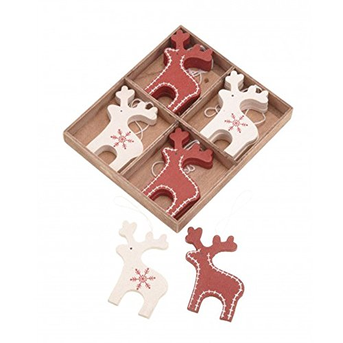 (Christmas Reindeer Decorations x 12 Wooden Red & Cream Deer-Nordic Scandinavian Style)