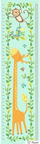 Jungle Friends~Growth Chart Panel 12 x 44 ~Turquoise Cotton Fabric by Northcott