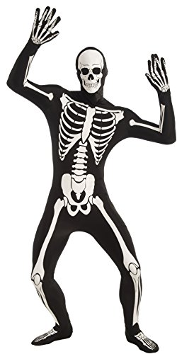 Forum Novelties Men's Disappearing Man Patterned Stretch Body Suit Costume Glow-In-The-Dark Skeleton, Black/White, Medium/Large