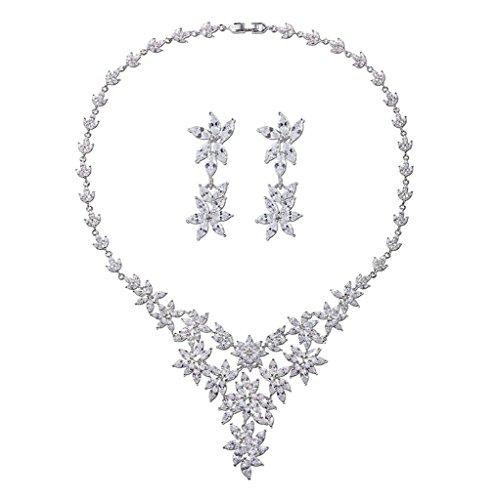 Aooaz Bijoux Femmes Alliage Bijoux Parures Magnifique Fleur Cristal Mariage Collier Boucles d'oreilles Ensemble De Parures Blanc