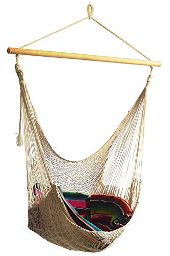 Hammocks Rada: Handmade Yucatan Chair Hammock - Natural Color - Artisan Crafted in Central America - Wood Bar Included - Carries Up to 260 Lbs.