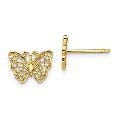 Solid 14k Yellow Gold Butterfly Post Earrings (7mm x 9mm) ()