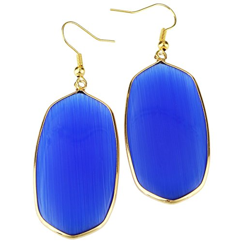 rockcloud Blue Cat's Eye Stone Dangle Hook Earrings Oval Gold (Cat Eye Oval Earrings)